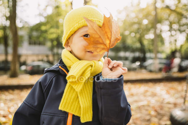 Menino escondido atrás de folha de outono — Fotografia de Stock