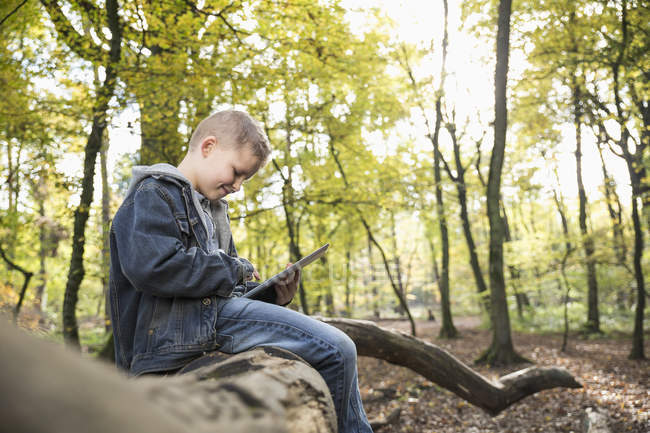 Bambino sorridente utilizzando tablet digitale in una foresta — Foto stock