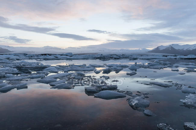 Iceland, Joekulsarlon, glacier lake in the evening light — Stock Photo