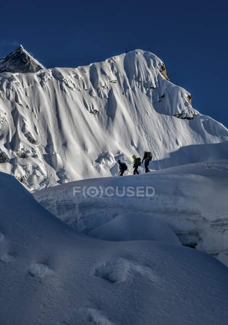 Nepal, Khumbu, Everest Region, Bergsteiger wandern auf Inselgipfel — Stockfoto