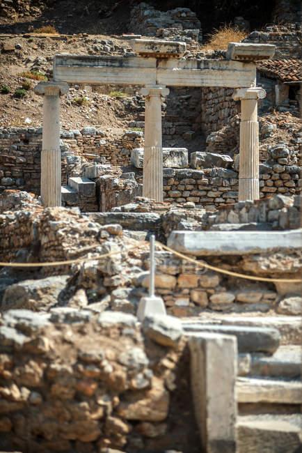 Turkey, Ephesus, three columns at ancient ruins — Stock Photo