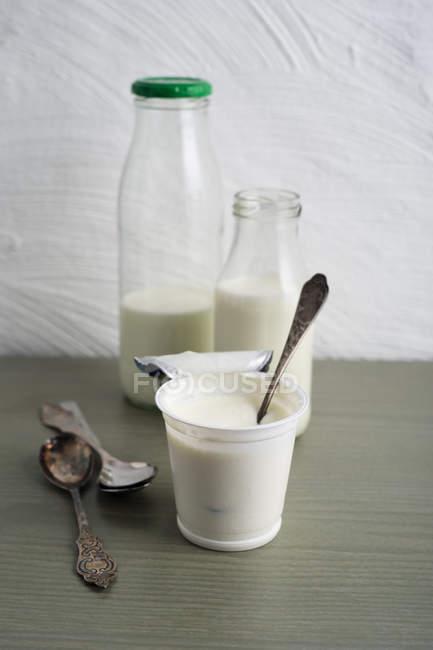 Flaschen Milch und Tasse Naturjoghurt — Stockfoto