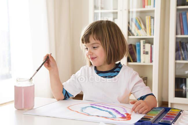 Портрет дівчинка зафарбовування акварелі — стокове фото