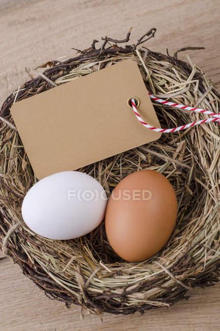Braunen und weißen Eiern mit leere Beschriftung im nest — Stockfoto