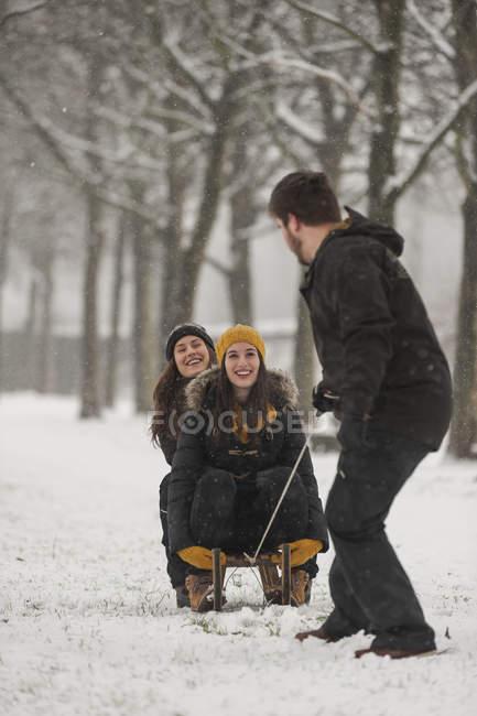 Три друзям, весело з санях взимку — стокове фото