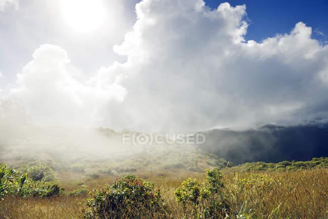 USA, Hawaii, Maui, West Maui Mountains with clouds as seen from Waihee Ridge Trail — Stock Photo