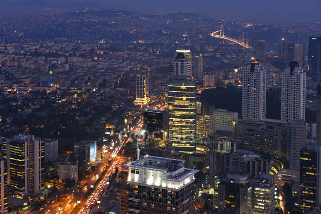 Turkey, Istanbul, Aerial view over the financial district from the Istanbul Sapphire at night — Stock Photo