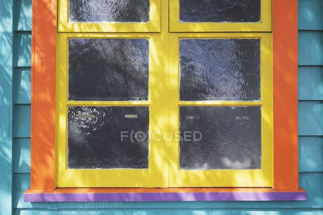 New Zealand, colorful wooden window, single glazing — Stock Photo