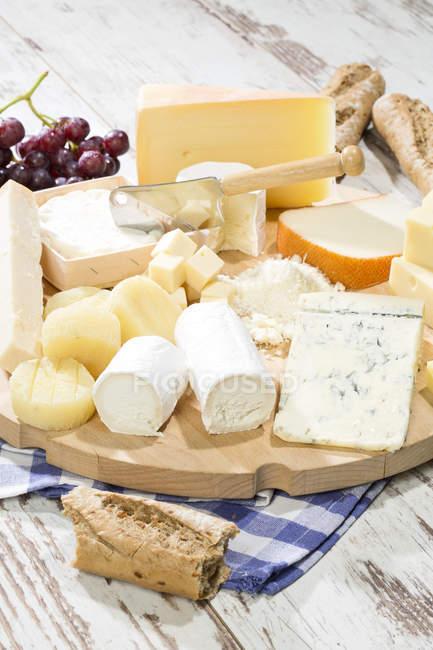Tabla de quesos con diferentes tipos de quesos, baguette y uvas de tabla de madera - foto de stock