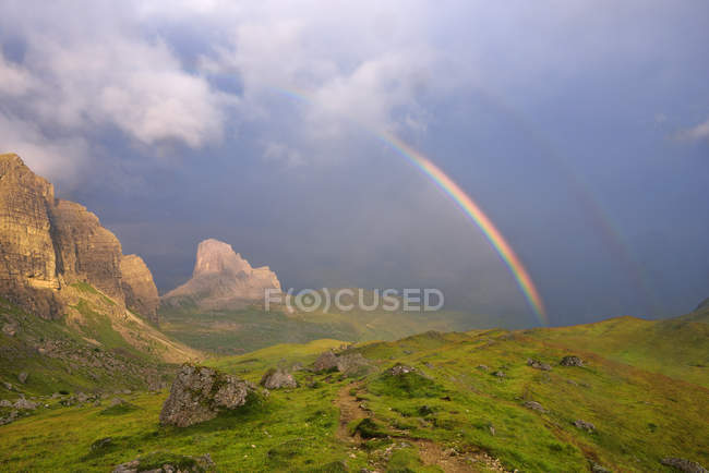 Italy, Veneto, Selva di Cadore, rainbow in the mountains — Stock Photo
