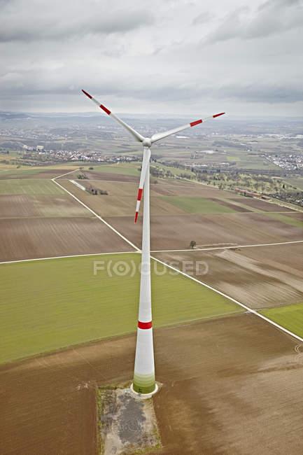 Южная Германия, аэрофотоснимок ветровой турбины — стоковое фото