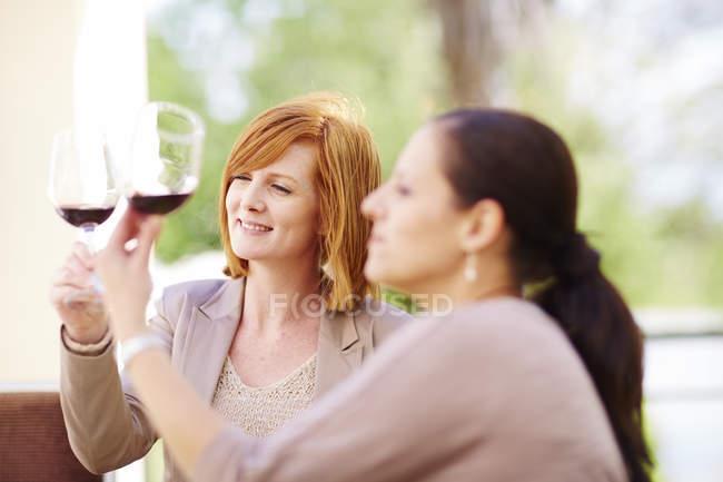 Дві жінки, вивчаючи червоне вино — стокове фото