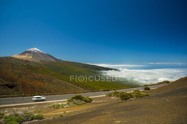 Spain, Canary Islands, Tenerife, Teide National Park, Teide Volcano, road — Stock Photo