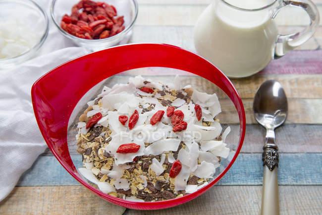 Каші з насіння чіа, кокосовою стружкою, wolfberries і молока по дереву — стокове фото