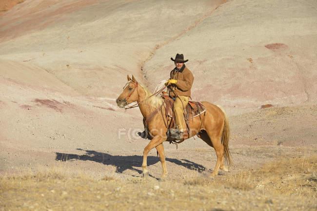 США, штат Вайоминг, ковбой, езда в бесплодные земли — стоковое фото