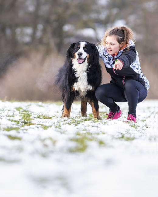 Young woman with her Saint Bernard on snow-covered meadow — Stock Photo