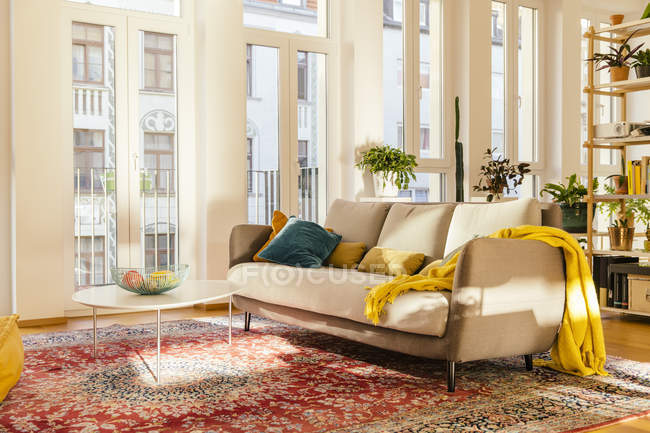 Living room interior with Persian rug — Stock Photo