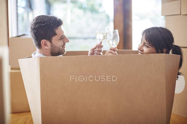 Кілька рухомих будинком сидить у коробці і вина цокаючись — стокове фото
