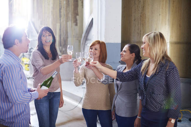 Group of people clinking wine glasses on shop floor — Stock Photo