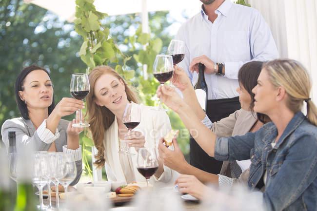 Женщины наслаждаются дегустацией вин с красным вином — стоковое фото