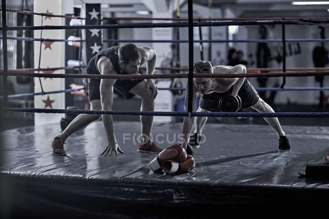 Trainer mit Boxer Ausbildung im Boxring — Stockfoto