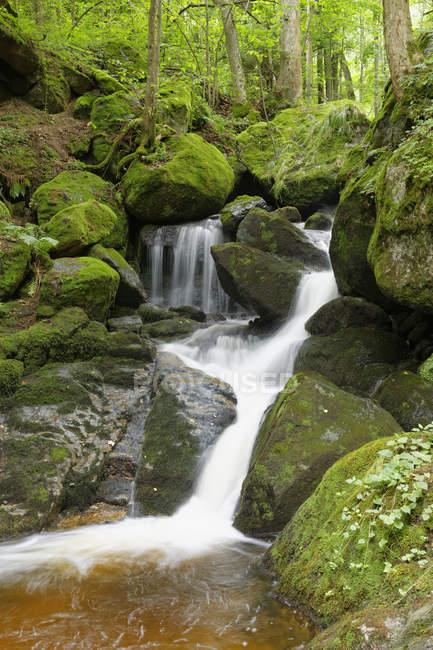 Wasserfall-Ansicht mit Felsbrocken vom Moos überwuchert — Stockfoto