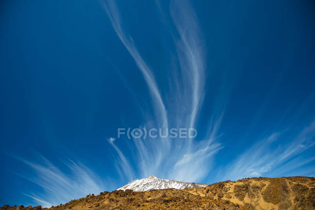 Spain, Canary Islands, Tenerife, Mount Teide, Teide National Park, cirrus clouds — Stock Photo