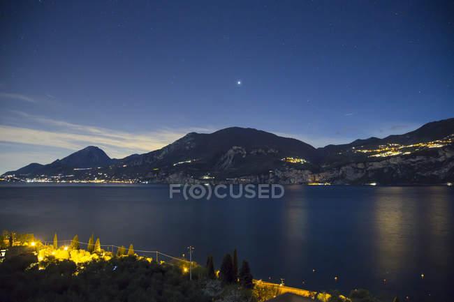 Lake Garda view at night — Stock Photo
