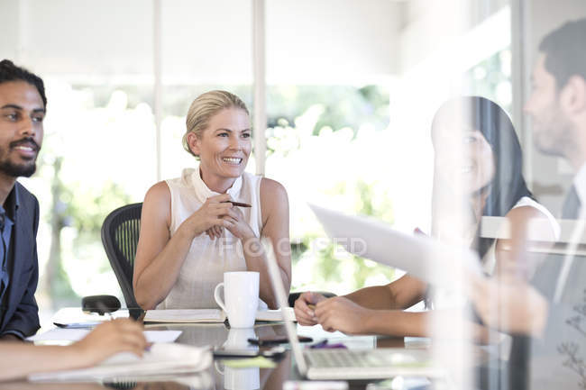 Cropped portrait of businesspeople on meeting in office — Stock Photo