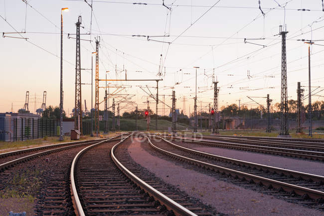 Germany, Hamburg, railway track with catenary — Stock Photo