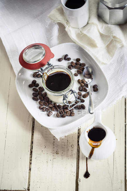 Panna Cotta with espresso syrup — Stock Photo