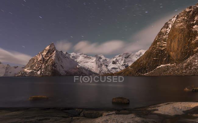 Norway, Lofoten, view to Olstind Mountain by night — Stock Photo