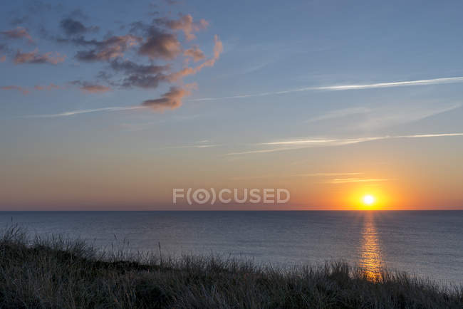 Germany, Schleswig-Holstein, Sylt, Wenningstedt, North Sea, sunset — стокове фото