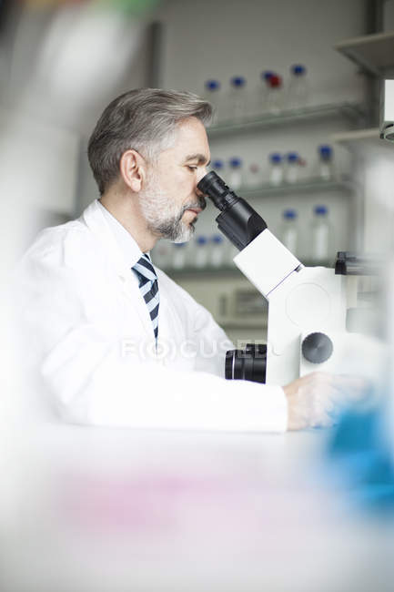 Scientist in laboratory looking through microscope — Stock Photo
