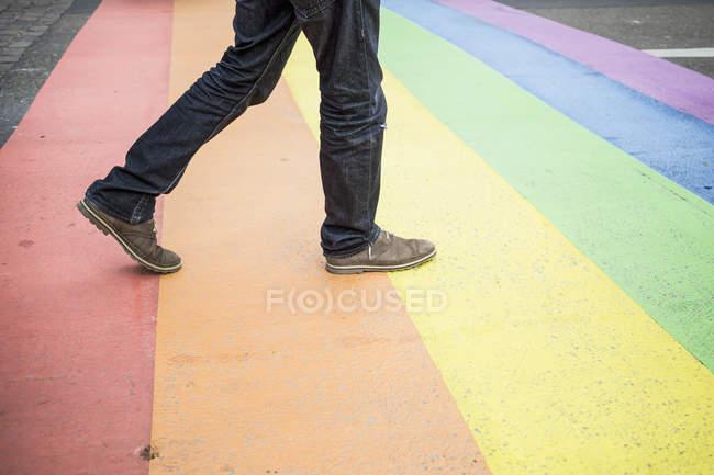 Países Bajos, Maastricht, hombre caminando en la bandera del arco iris pintado en la calle - foto de stock