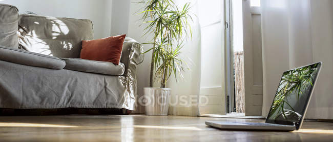 Laptop standing on wooden floor in a living room — Stock Photo