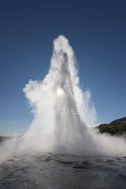 Iceland Strokkur Geyser At Backlight Color Image Blue Sky Stock Photo 180243552