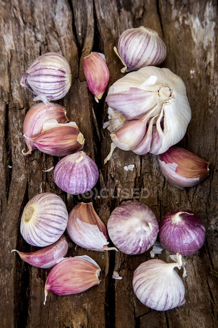 Свежий чеснок луковицы и гвоздики — стоковое фото