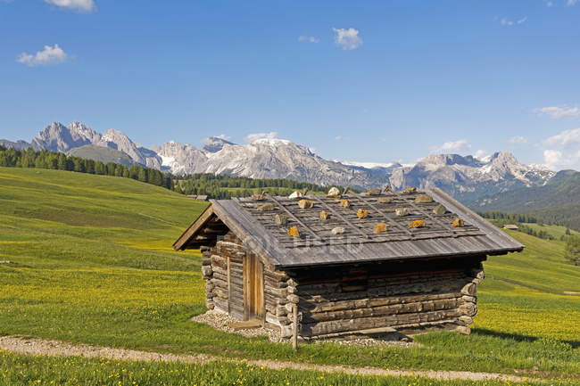 Italie, Tyrol du Sud, Seiser Alm, Cabane alpine au premier plan — Photo de stock