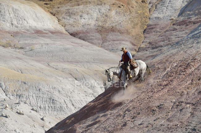 USA, wummern, Cowboy reitet in Badlands nach unten — Stockfoto