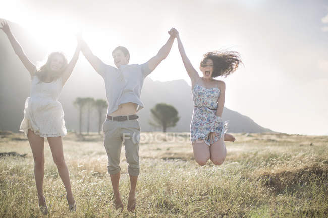 South Africa, Friends jumping of joy in field — Stock Photo