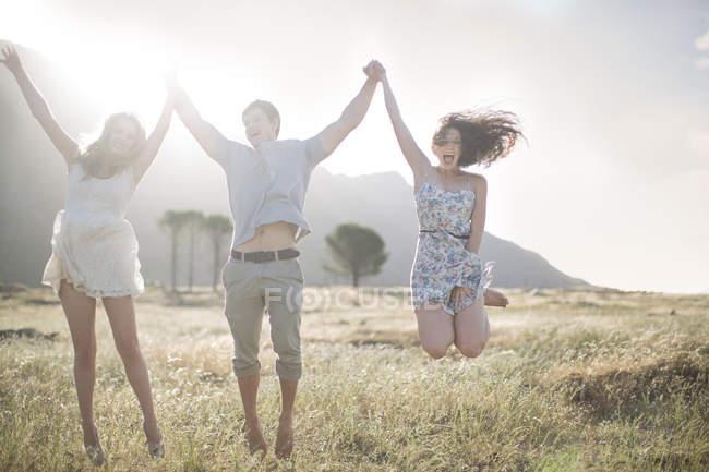 Südafrika, Freunde der Freude im Bereich springen — Stockfoto