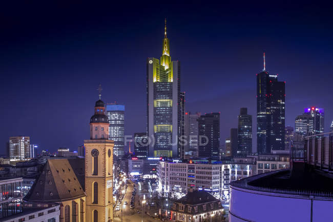 Germany, Hesse, Frankfurt, Downtown aerial view with Hauptwache and financial district illuminated at night — Stock Photo