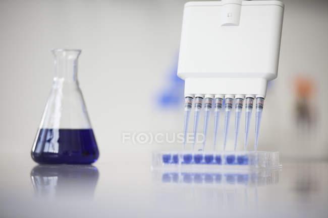 Tubes à essai et fiole Erlenmeyer en laboratoire — Photo de stock
