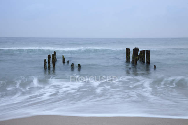 Germany, Schleswig-Holstein, Sylt, Rantum, groins in the North Sea — Stock Photo