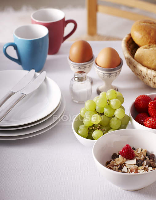 Closeup view of served laid breakfast table — Stock Photo