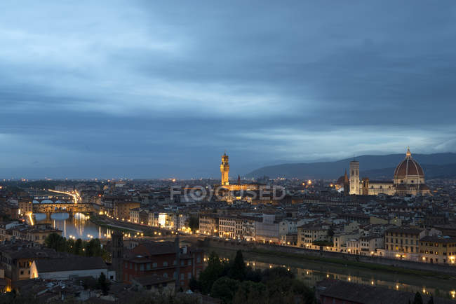 Italy, Florence, aerial View of the city at night — Stock Photo