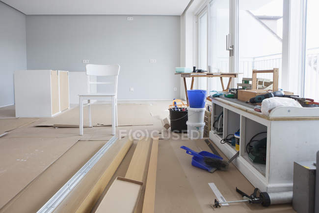 Modern flat getting renovated indoors — Stock Photo