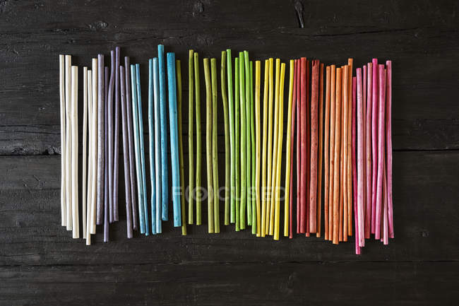 Row of colourful upcycling organic natural material — Stock Photo