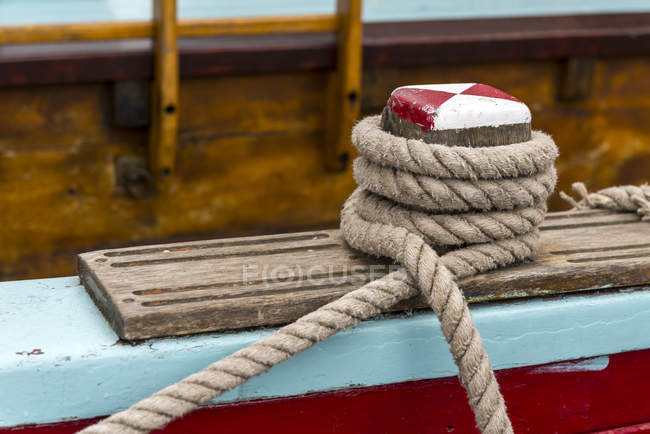 Germany, Eckernfoerde, rope on a sailing ship — Stock Photo